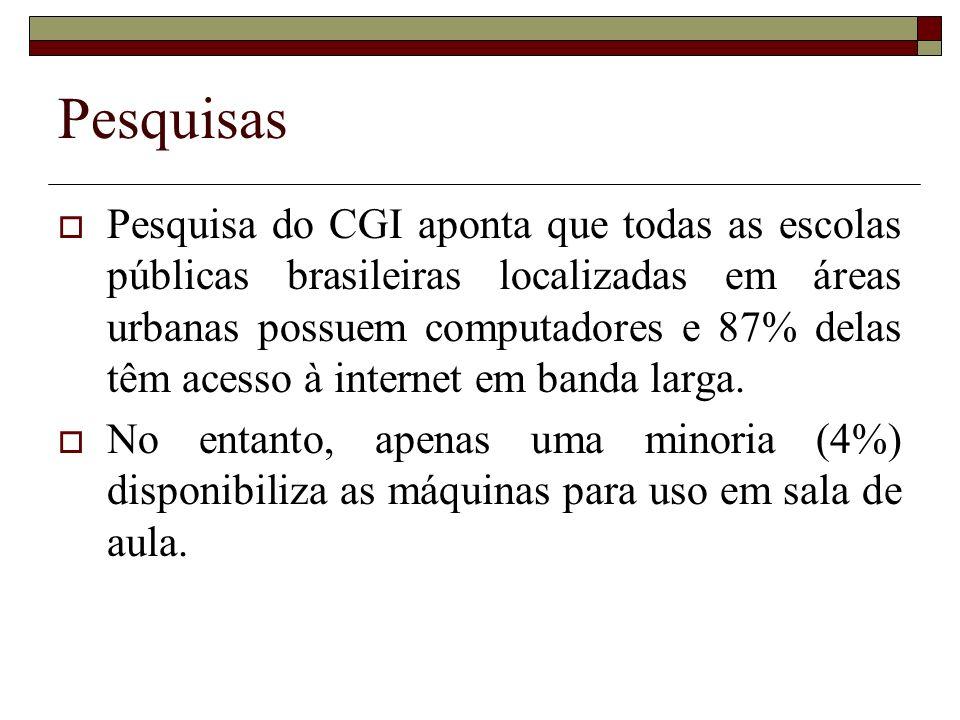 Pesquisas Pesquisa do CGI aponta que todas as escolas públicas brasileiras localizadas em áreas urbanas possuem computadores e 87% delas têm acesso à