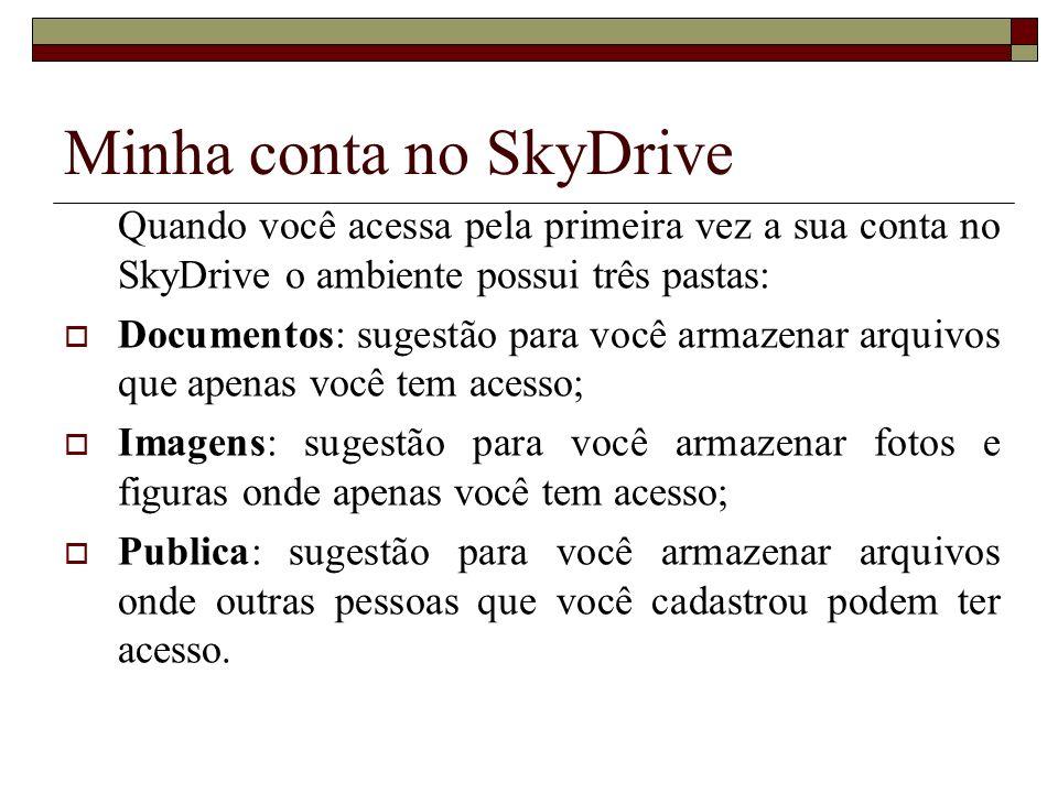 Quando você acessa pela primeira vez a sua conta no SkyDrive o ambiente possui três pastas: Documentos: sugestão para você armazenar arquivos que apen