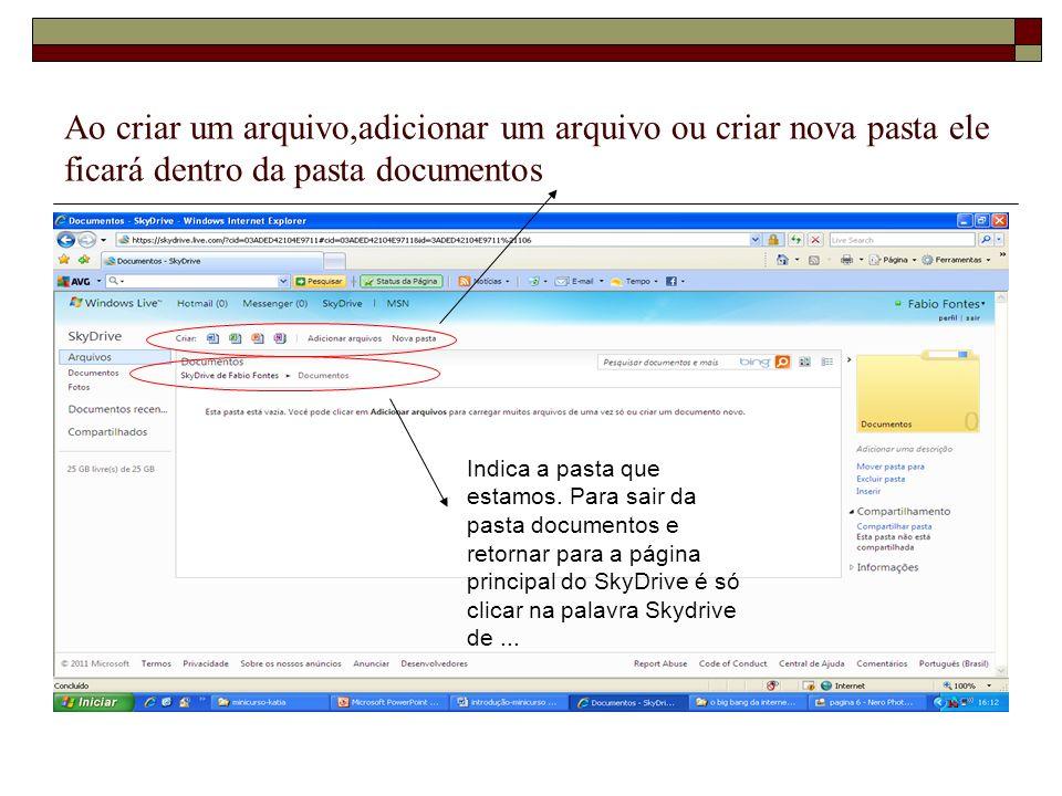 Ao criar um arquivo,adicionar um arquivo ou criar nova pasta ele ficará dentro da pasta documentos Indica a pasta que estamos. Para sair da pasta docu
