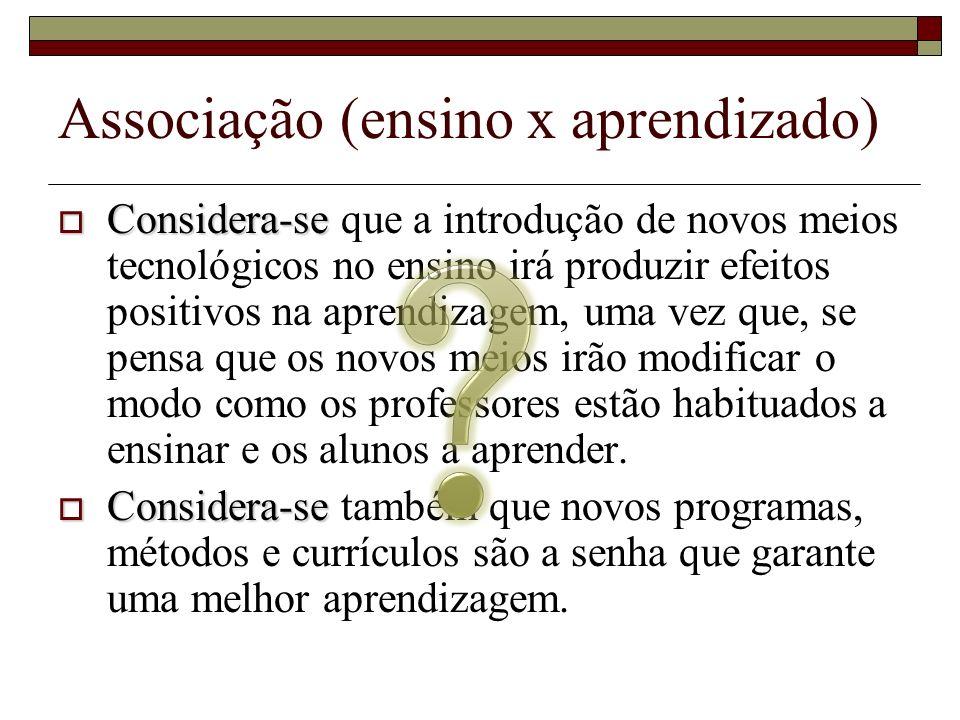 Associação (ensino x aprendizado) Considera-se Considera-se que a introdução de novos meios tecnológicos no ensino irá produzir efeitos positivos na a