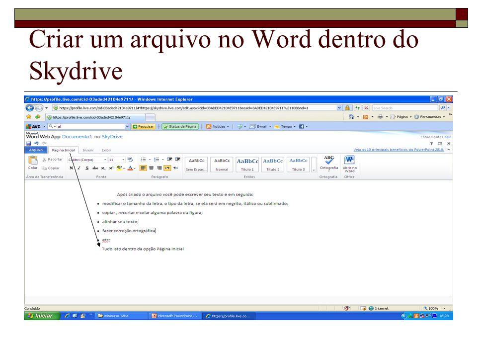 Criar um arquivo no Word dentro do Skydrive