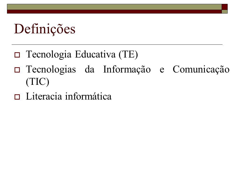 Definições Tecnologia Educativa (TE): Tecnologia Educativa (TE): O termo não se limita aos recursos técnicos usados no ensino mas a todos os processos de concepção, desenvolvimento e avaliação da aprendizagem.