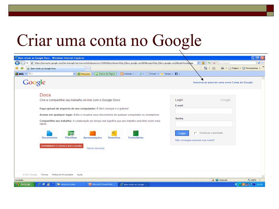 Criar uma conta no Google