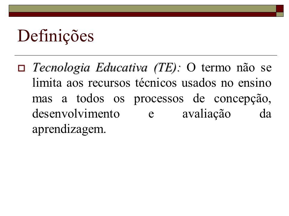 Definições Tecnologia Educativa (TE): Tecnologia Educativa (TE): O termo não se limita aos recursos técnicos usados no ensino mas a todos os processos