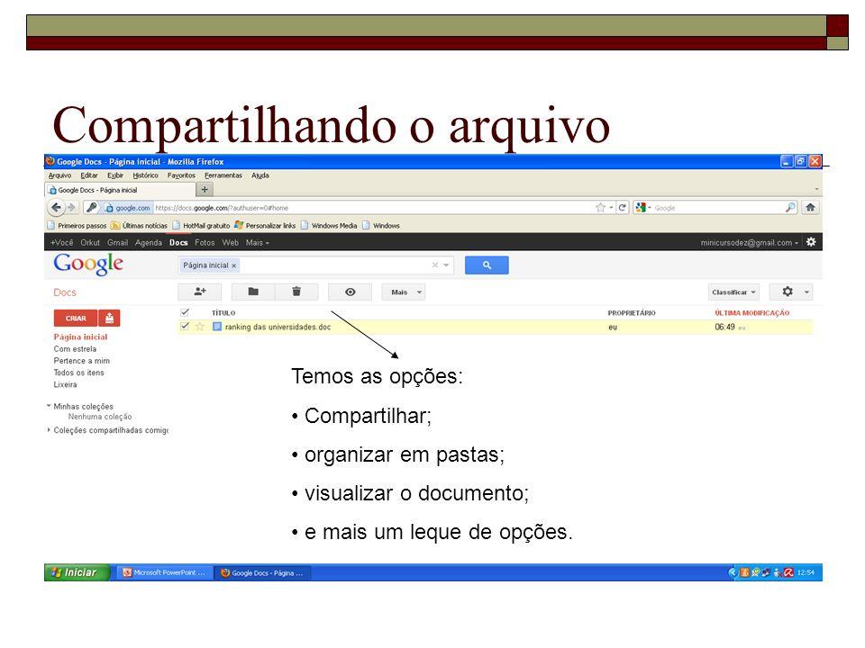 Compartilhando o arquivo Temos as opções: Compartilhar; organizar em pastas; visualizar o documento; e mais um leque de opções.