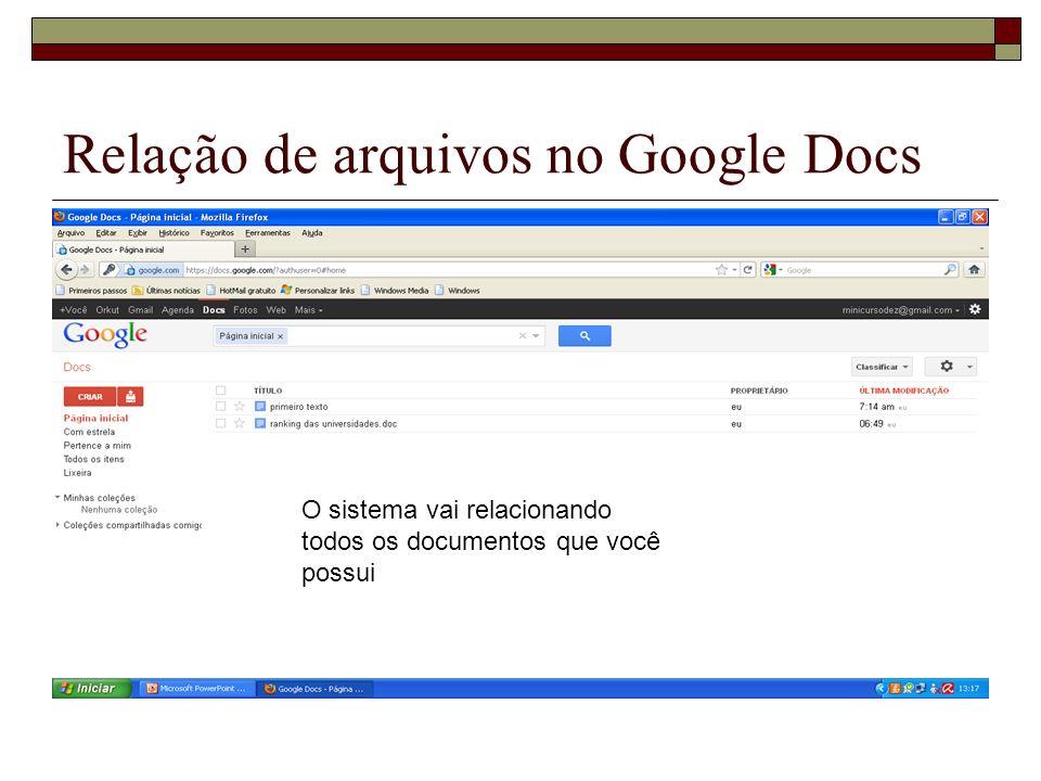 Relação de arquivos no Google Docs O sistema vai relacionando todos os documentos que você possui