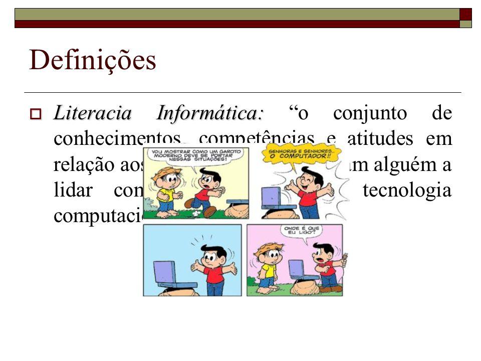 Definições Literacia Informática: Literacia Informática: o conjunto de conhecimentos, competências e atitudes em relação aos computadores que levam al