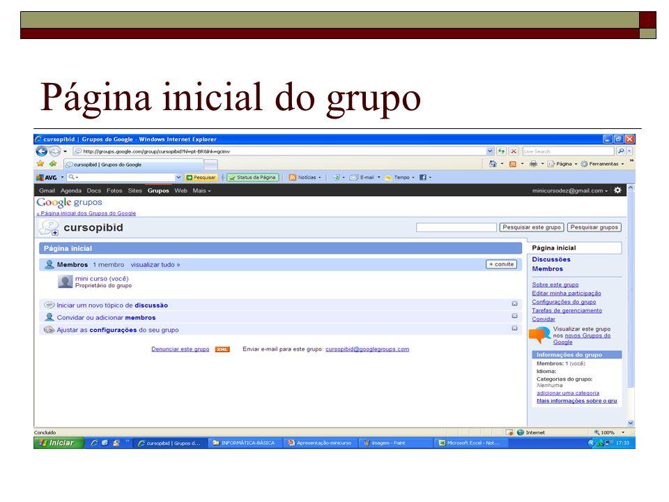 Página inicial do grupo