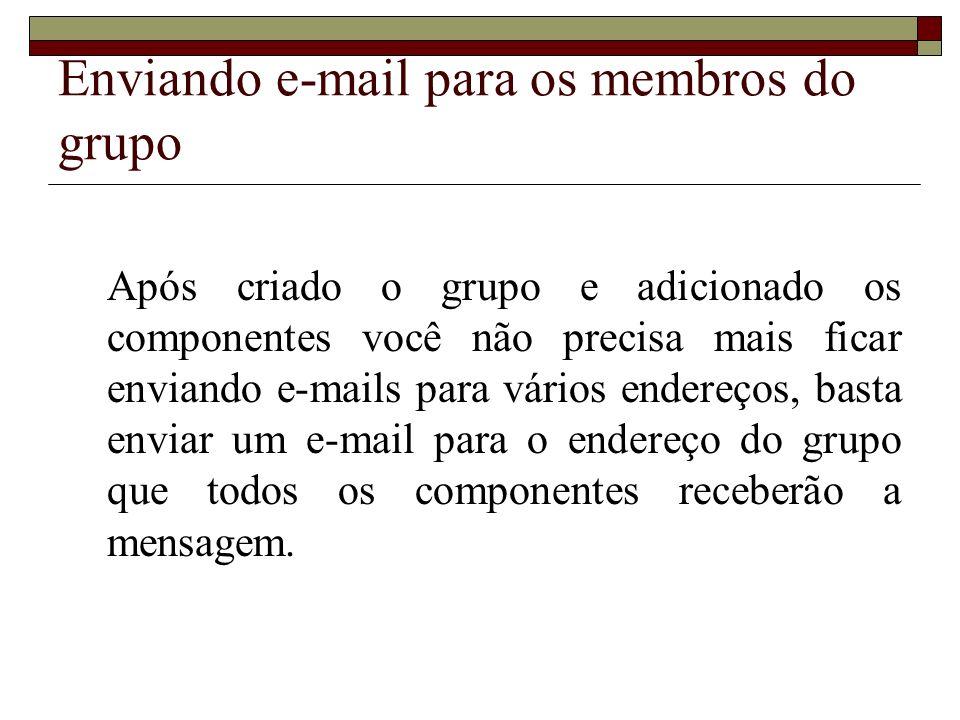 Enviando e-mail para os membros do grupo Após criado o grupo e adicionado os componentes você não precisa mais ficar enviando e-mails para vários ende
