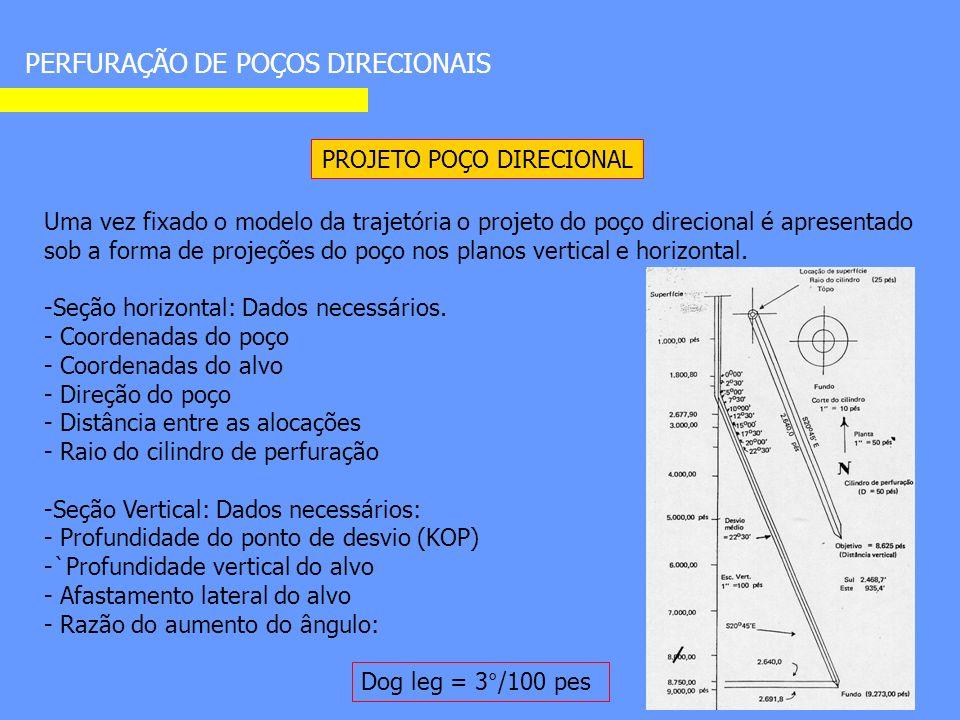 PERFURAÇÃO DE POÇOS DIRECIONAIS PROJETO POÇO DIRECIONAL Uma vez fixado o modelo da trajetória o projeto do poço direcional é apresentado sob a forma de projeções do poço nos planos vertical e horizontal.