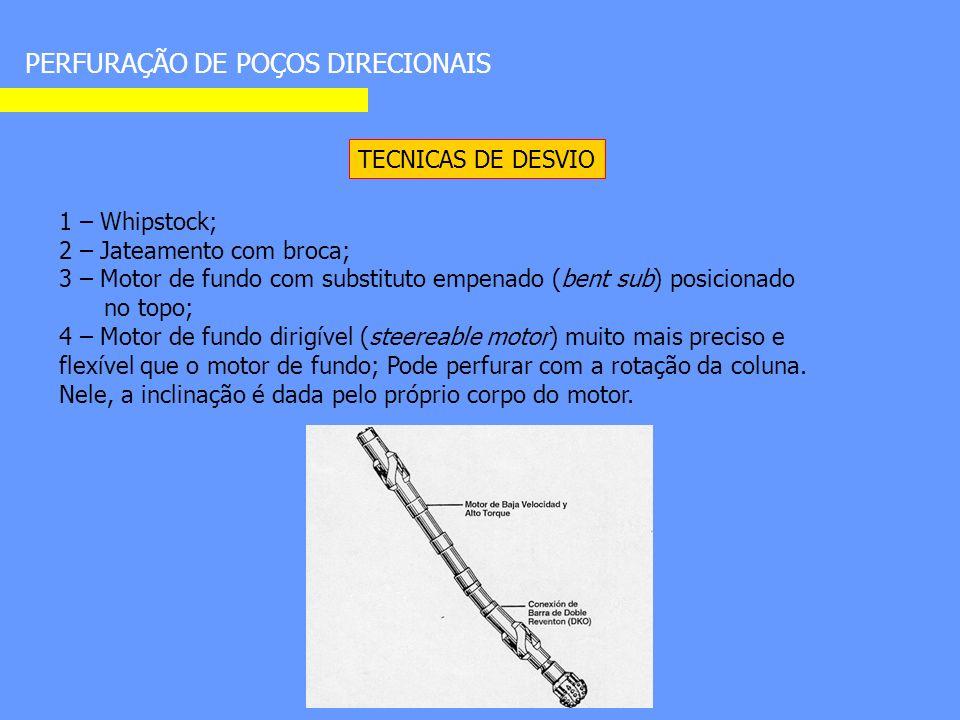 PERFURAÇÃO DE POÇOS DIRECIONAIS TECNICAS DE DESVIO 1 – Whipstock; 2 – Jateamento com broca; 3 – Motor de fundo com substituto empenado (bent sub) posicionado no topo; 4 – Motor de fundo dirigível (steereable motor) muito mais preciso e flexível que o motor de fundo; Pode perfurar com a rotação da coluna.