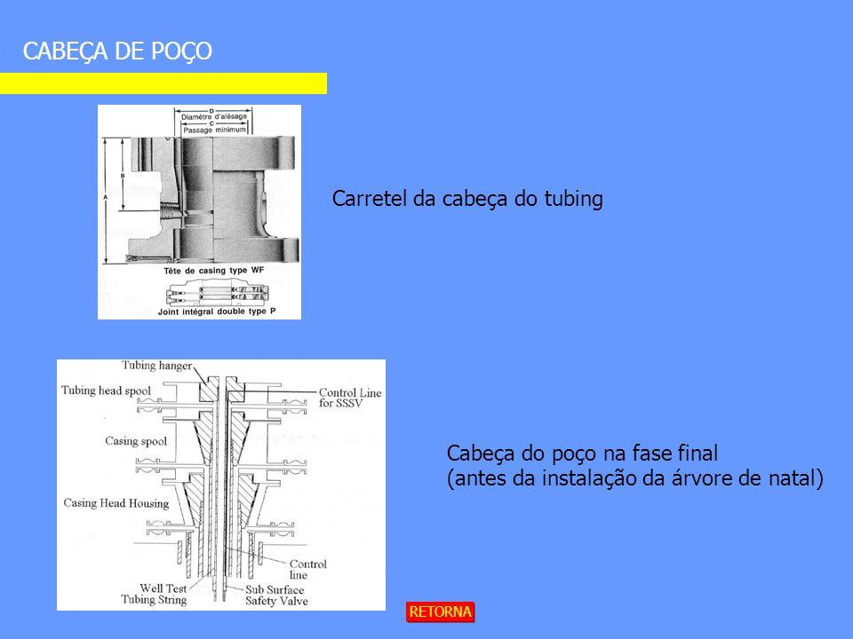 CABEÇA DE POÇO Carretel da cabeça do tubing Cabeça do poço na fase final (antes da instalação da árvore de natal) RETORNA