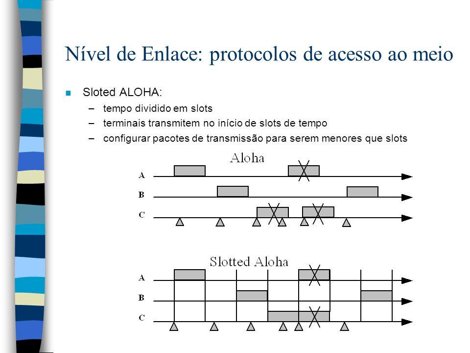 Nível de Enlace: protocolos de acesso ao meio n Sloted ALOHA: –tempo dividido em slots –terminais transmitem no início de slots de tempo –configurar p