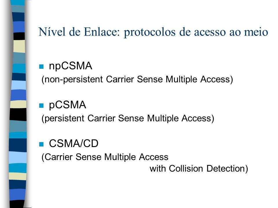 Nível de Enlace: protocolos de acesso ao meio n npCSMA (non-persistent Carrier Sense Multiple Access) n pCSMA (persistent Carrier Sense Multiple Acces