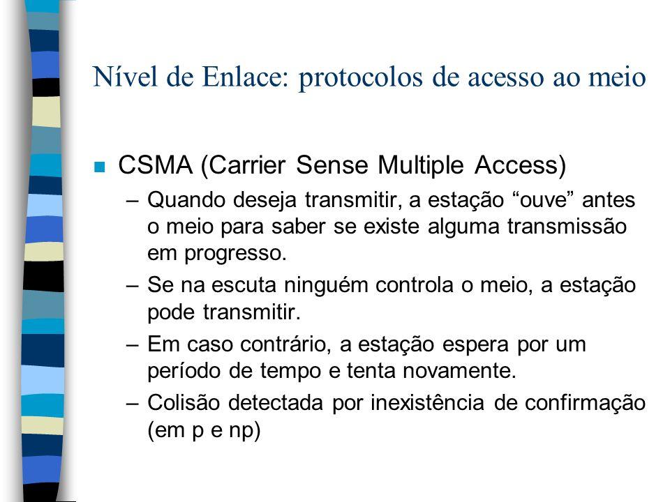 Nível de Enlace: protocolos de acesso ao meio n CSMA (Carrier Sense Multiple Access) –Quando deseja transmitir, a estação ouve antes o meio para saber