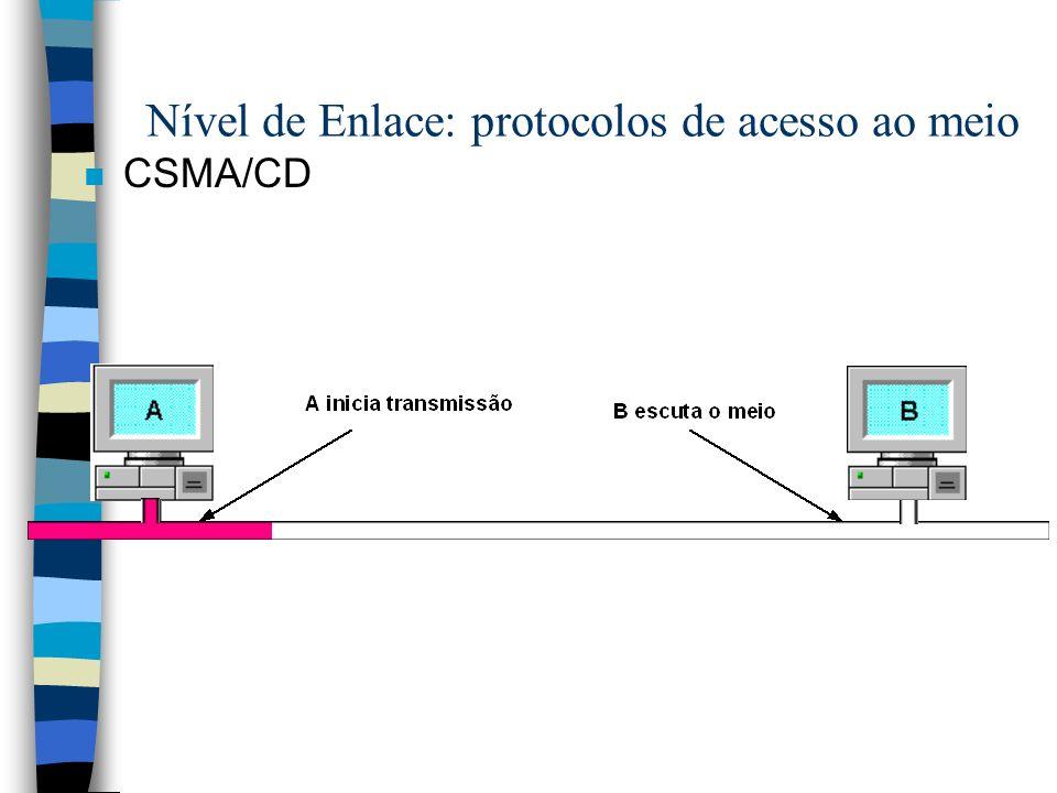 n CSMA/CD Nível de Enlace: protocolos de acesso ao meio