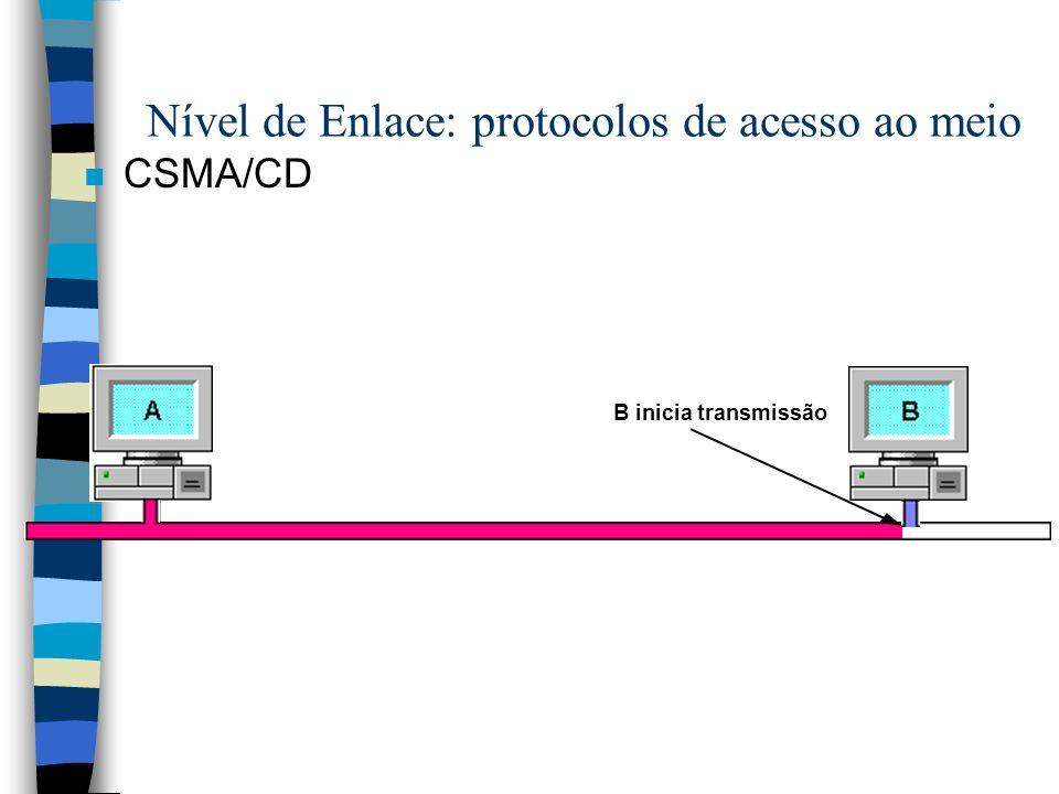 n CSMA/CD B inicia transmissão Nível de Enlace: protocolos de acesso ao meio