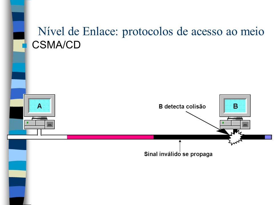 n CSMA/CD B detecta colisão Nível de Enlace: protocolos de acesso ao meio Sinal inválido se propaga