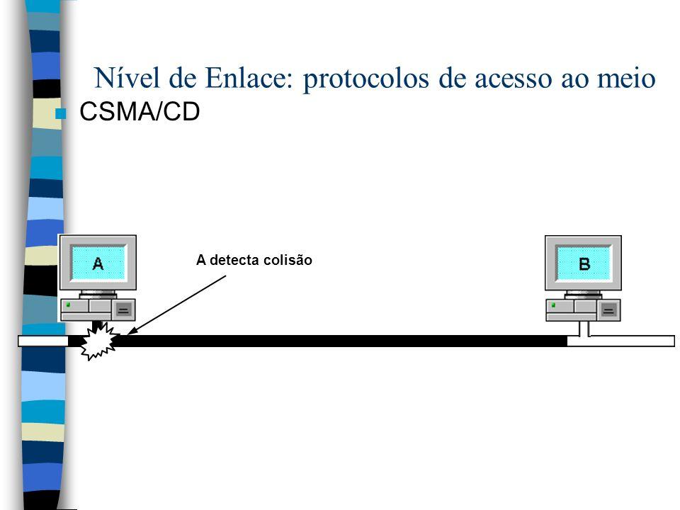 n CSMA/CD A detecta colisão Nível de Enlace: protocolos de acesso ao meio