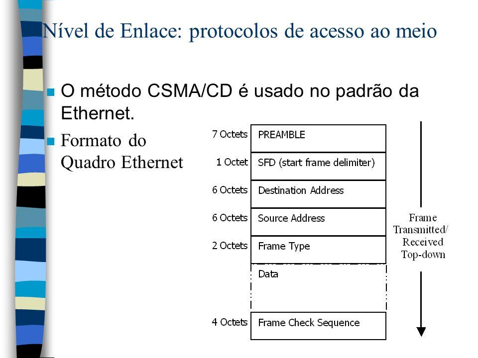 Nível de Enlace: protocolos de acesso ao meio n O método CSMA/CD é usado no padrão da Ethernet. n Formato do Quadro Ethernet