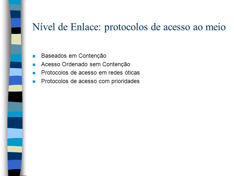 Nível de Enlace: protocolos de acesso ao meio n Baseados em Contenção n Acesso Ordenado sem Contenção n Protocolos de acesso em redes óticas n Protoco