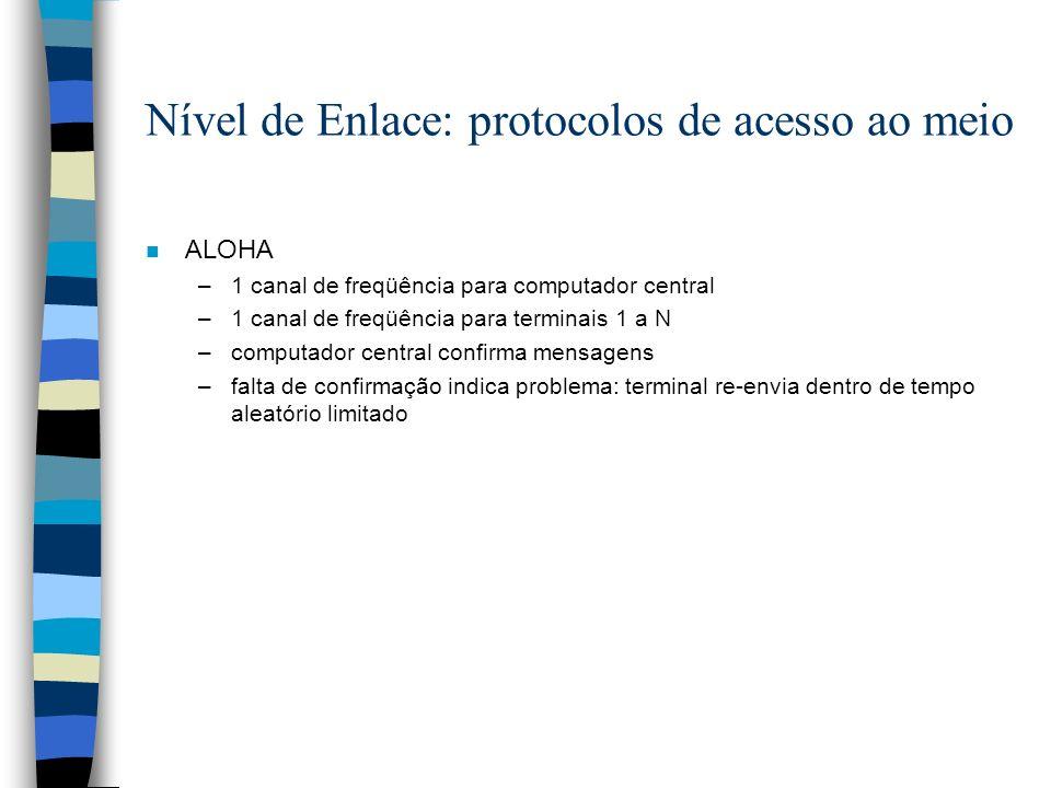 n ALOHA –1 canal de freqüência para computador central –1 canal de freqüência para terminais 1 a N –computador central confirma mensagens –falta de co