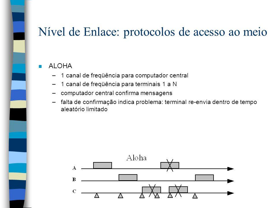 Nível de Enlace: protocolos de acesso ao meio n ALOHA –1 canal de freqüência para computador central –1 canal de freqüência para terminais 1 a N –comp