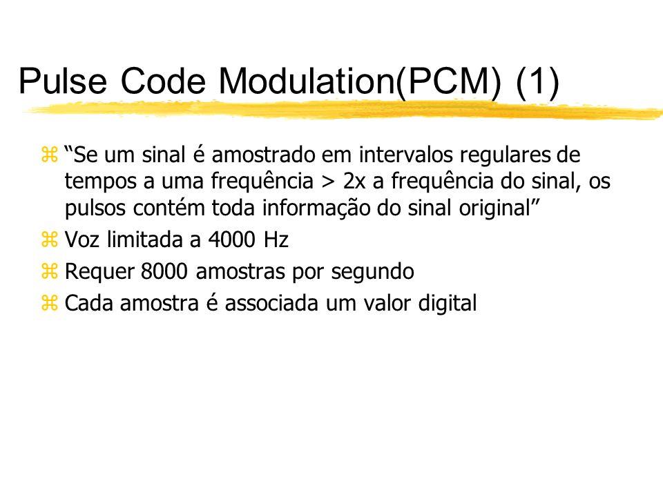 Pulse Code Modulation(PCM) (1) zSe um sinal é amostrado em intervalos regulares de tempos a uma frequência > 2x a frequência do sinal, os pulsos conté