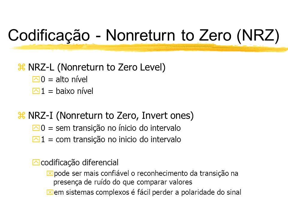 Codificação - Nonreturn to Zero (NRZ) zNRZ não são complexos zUtilizam a largura de banda eficientemente zA principal limitação é yfalta de sincronização, pois durante a transmissão de longas seqüências de 1 ou 0 para o NRZ-L, e longas seqüências de 0s para o NRZ-I, a saída é uma voltagem constante durante um longo período de tempo.