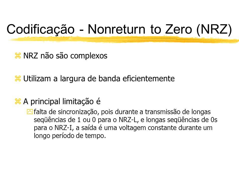 Codificação - Nonreturn to Zero (NRZ) zNRZ não são complexos zUtilizam a largura de banda eficientemente zA principal limitação é yfalta de sincroniza