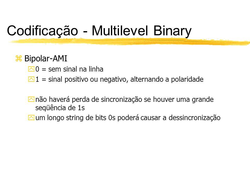 Codificação - Multilevel Binary zPseudoternário y0 = nível positivo ou negativo, alternando a polaridade y1 = sem sinal yigual ao bipolar AMI, apenas com a inversão da representação de 0s e 1s