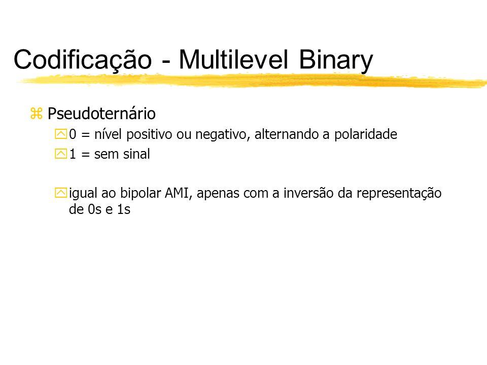 Codificação - Multilevel Binary zPseudoternário y0 = nível positivo ou negativo, alternando a polaridade y1 = sem sinal yigual ao bipolar AMI, apenas