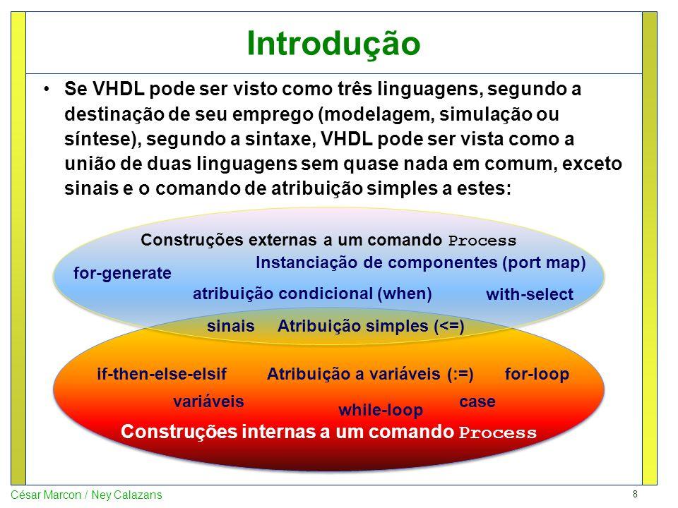 9 César Marcon / Ney Calazans Sumário Introdução Processos em VHDL TRABALHO A FAZER A ENTREGAR