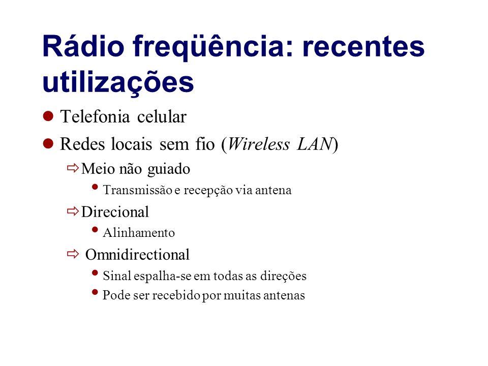 Rádio freqüência: recentes utilizações Telefonia celular Redes locais sem fio (Wireless LAN) Meio não guiado Transmissão e recepção via antena Direcio