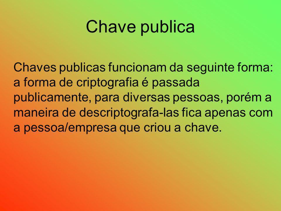 Chave publica Chaves publicas funcionam da seguinte forma: a forma de criptografia é passada publicamente, para diversas pessoas, porém a maneira de d