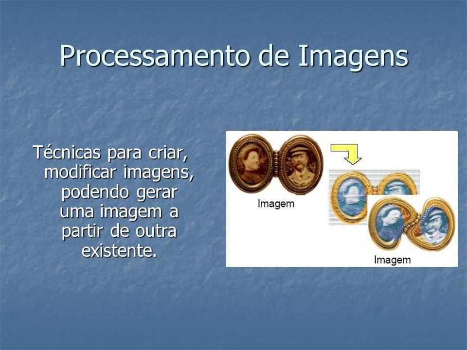 Processamento de Imagens Técnicas para criar, modificar imagens, podendo gerar uma imagem a partir de outra existente.