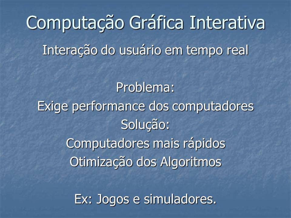 Computação Gráfica Interativa Interação do usuário em tempo real Problema: Exige performance dos computadores Solução: Computadores mais rápidos Otimi