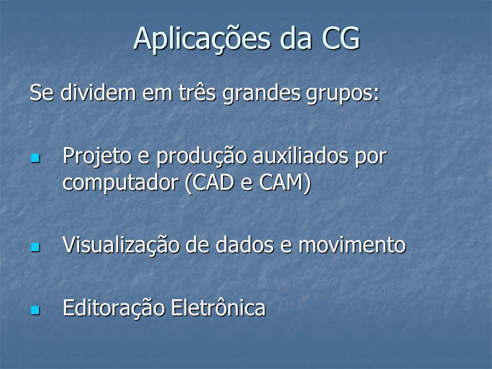 Aplicações da CG Se dividem em três grandes grupos: Projeto e produção auxiliados por computador (CAD e CAM) Projeto e produção auxiliados por computa