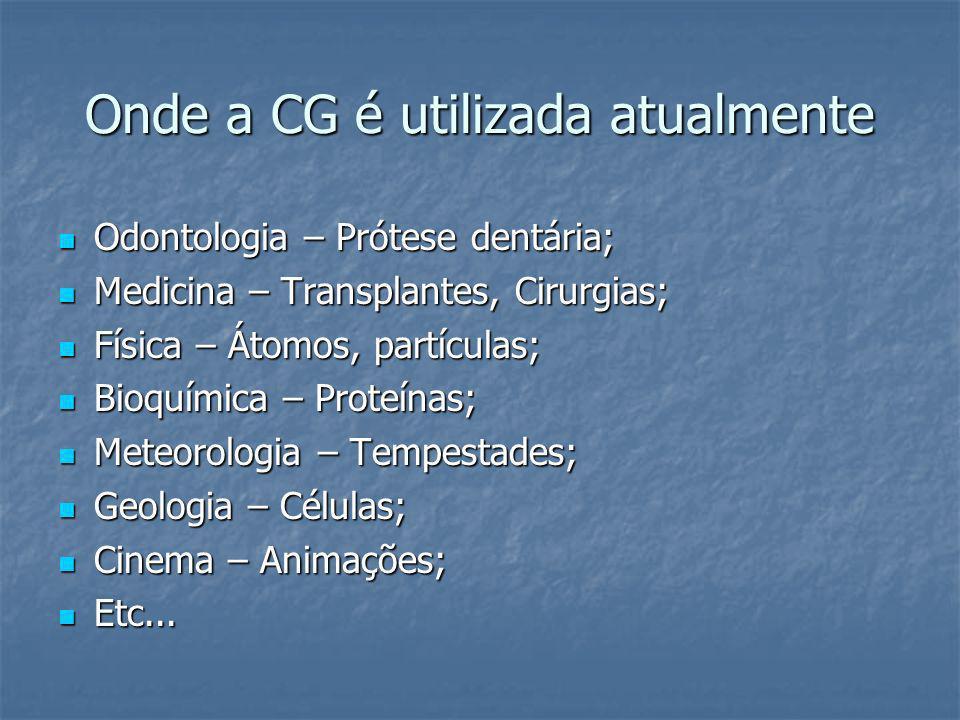 Onde a CG é utilizada atualmente Odontologia – Prótese dentária; Odontologia – Prótese dentária; Medicina – Transplantes, Cirurgias; Medicina – Transp