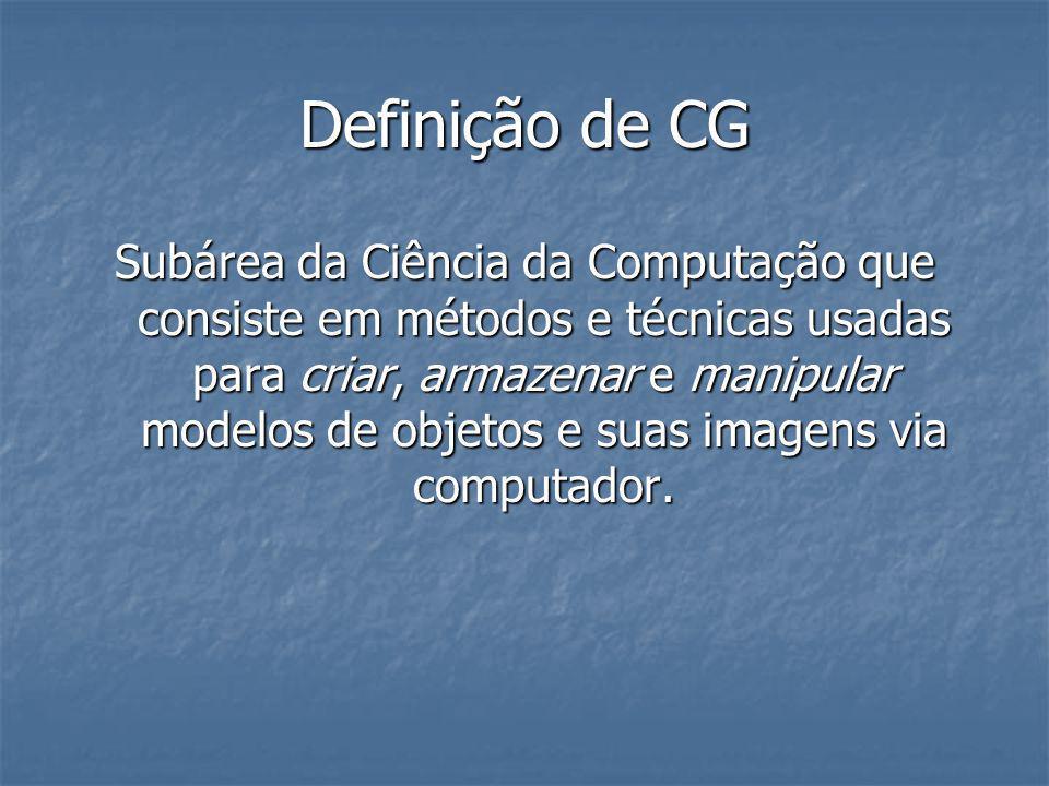 Definição de CG Subárea da Ciência da Computação que consiste em métodos e técnicas usadas para criar, armazenar e manipular modelos de objetos e suas
