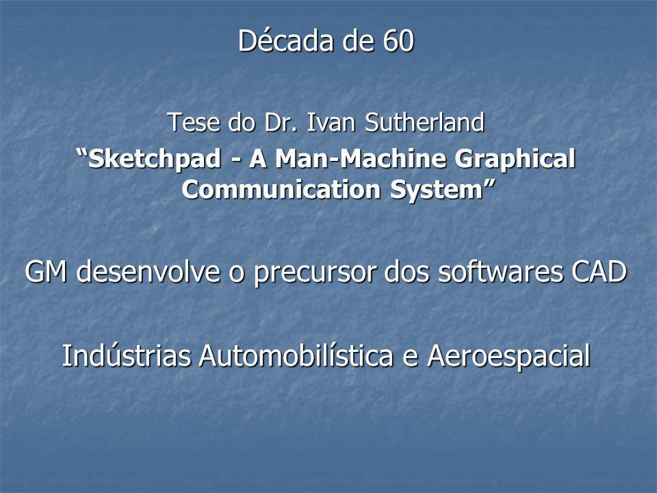 Década de 60 Tese do Dr. Ivan Sutherland Sketchpad - A Man-Machine Graphical Communication System GM desenvolve o precursor dos softwares CAD Indústri