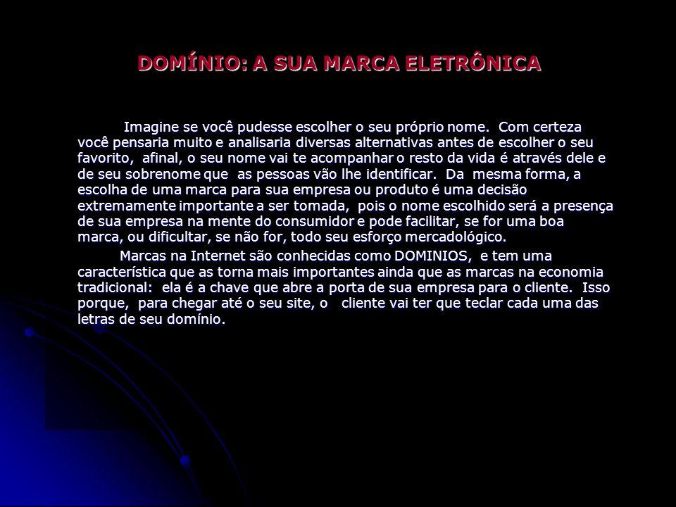 Estér Eunice de Souza Acadêmica do Curso de Bacharelado em Informática - 1.º Ano DOMÍNIO: A SUA MARCA ELETRÔNICA Imagine se você pudesse escolher o seu próprio nome.