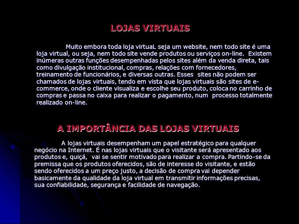 Estér Eunice de Souza Acadêmica do Curso de Bacharelado em Informática - 1.º Ano LOJAS VIRTUAIS Muito embora toda loja virtuaL seja um website, nem todo site é uma loja virtual, ou seja, nem todo site vende produtos ou serviços on-line.
