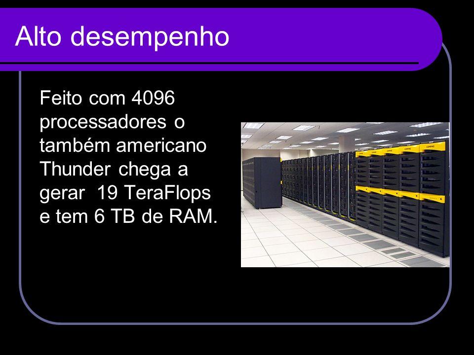 Alto desempenho Feito com 4096 processadores o também americano Thunder chega a gerar 19 TeraFlops e tem 6 TB de RAM.