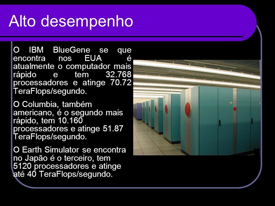 Alto desempenho O IBM BlueGene se que encontra nos EUA é atualmente o computador mais rápido e tem 32.768 processadores e atinge 70.72 TeraFlops/segun