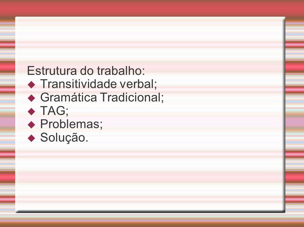 Transitividade Verbal A transitividade verbal é o resultado da conexão entre sujeito, verbo e complemento (Luft, 2002; Faraco e Moura, 1988); A classificação dos verbos é feita a partir dessa conexão: verbos transitivos e verbos intransitivos.