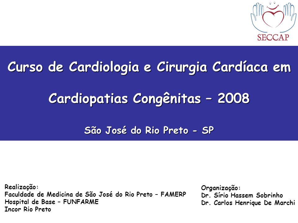 Curso de Cardiologia e Cirurgia Cardíaca em Cardiopatias Congênitas – 2008 São José do Rio Preto - SP Realização: Faculdade de Medicina de São José do