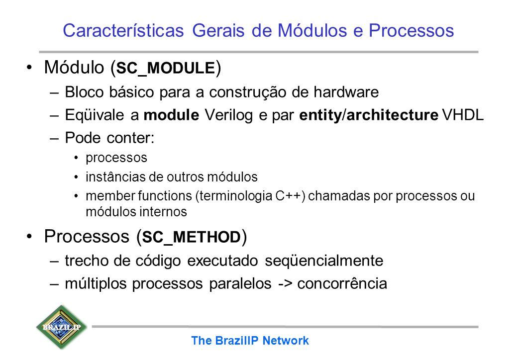 BRAZIL IP The BrazilIP Network Características Gerais de Módulos e Processos Módulo ( SC_MODULE ) –Bloco básico para a construção de hardware –Eqüival