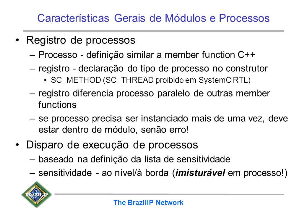BRAZIL IP The BrazilIP Network Características Gerais de Módulos e Processos Registro de processos –Processo - definição similar a member function C++