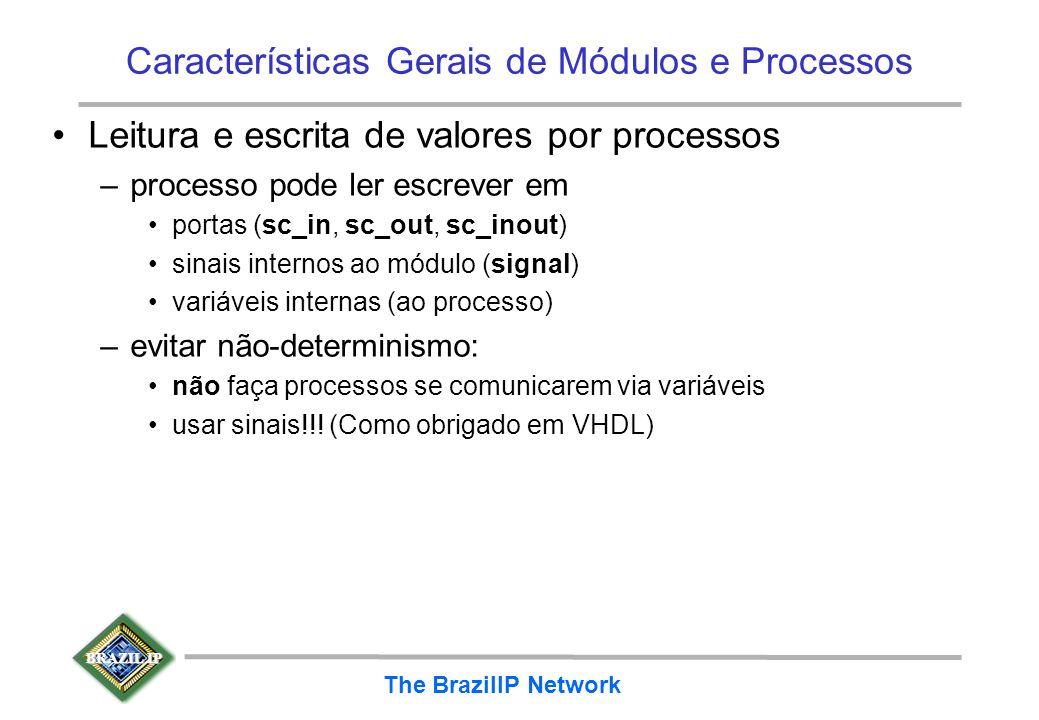 BRAZIL IP The BrazilIP Network Características Gerais de Módulos e Processos Leitura e escrita de valores por processos –processo pode ler escrever em